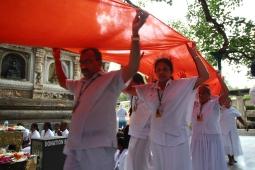 Circumambulating the Temple With Orange Cloth